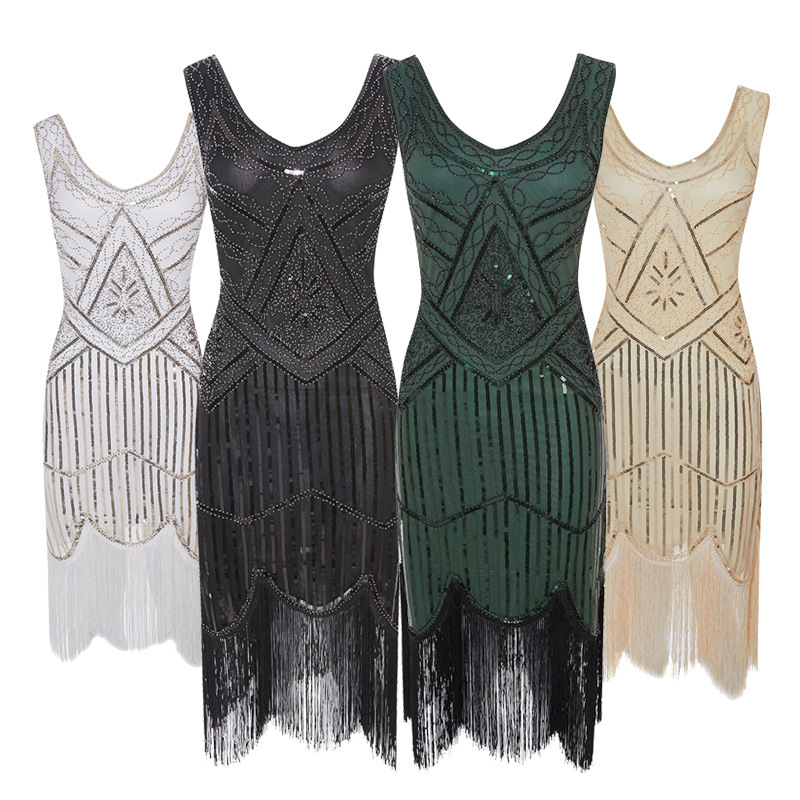 Women 1920s Flapper Dress O Neck Fringed Sequins Decoration Great Gatsby Dress Art Deco Fancy Dress for Prom Theme Party