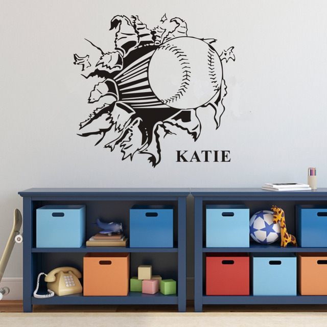 Customer Made Personalized Boys Name With Baseball Softball Sport Wall Sticker For Kids Rooms Removable