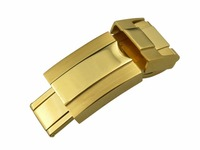 16mm * 9mm Goud Half Polish Rvs Horloge Band Gesp Deployment Sluiting Voor Stalen Armband Rubber Lederen riem Riem