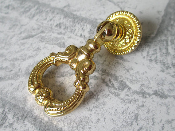 Dresser Drawer Pulls Handles Knobs Drop Pull Ring Gold / Kitchen Cabinet Knobs Handle Metal Vintage Furniture Hardware dresser pulls drawer pull handles white gold knob kitchen cabinet pulls knobs door handle cupboard french furniture hardware