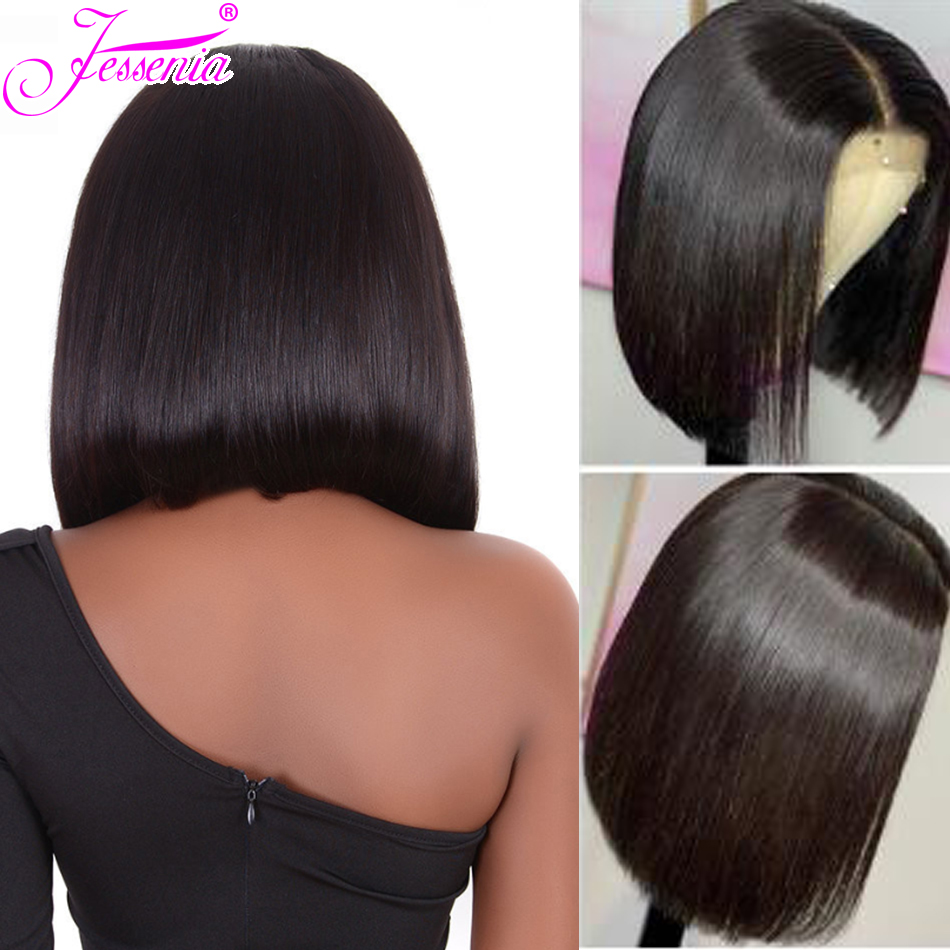 Brazilian Straight Short Bob Wig 150% density  13*4 Lace Front Human Hair Wigs With Pre Plucked With Baby Hair Remy Lace Wig