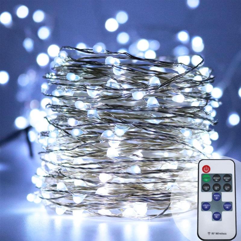 10m 100 33ft RF fjärrkontroll dimbar LED-koppar trådsträng lampa - Festlig belysning - Foto 5