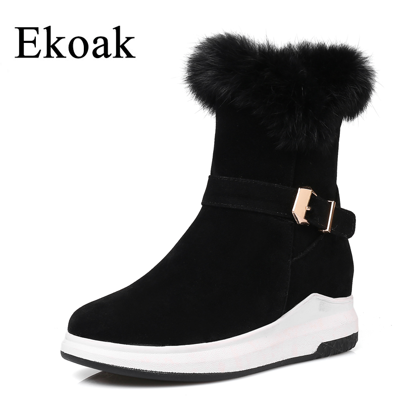 Ekoak Women Snow Boots Fashion Winter Boots Warm Plush Ankle Boots Ladies Platform Shoes Woman Flock Rubber Boots serene handmade winter warm socks boots fashion british style leather retro tooling ankle men shoes size38 44 snow male footwear