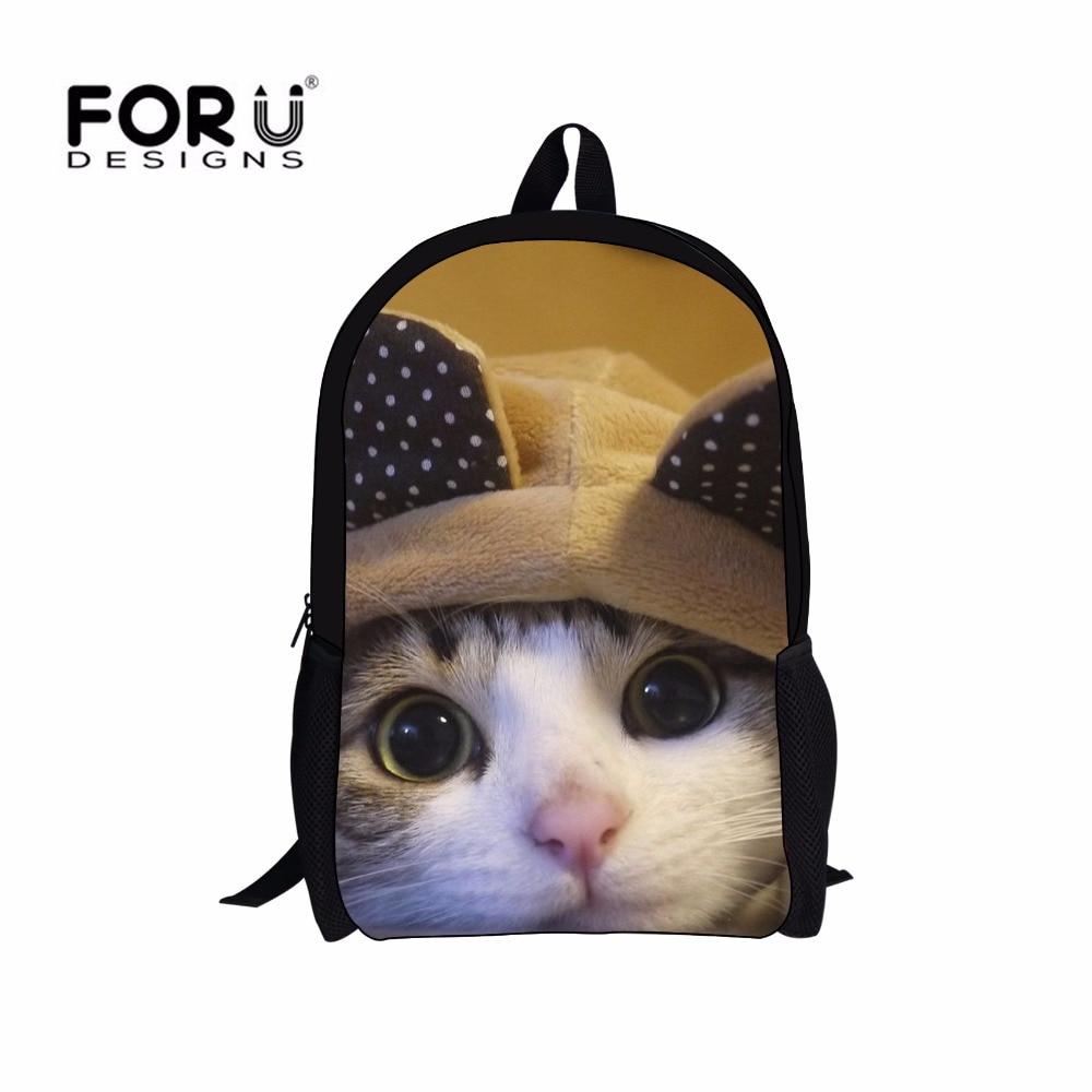 FORUDESIGNS Cats Cute Backpack Girls Teenagers Kawaii Canvas Backbag for Women Back Pack New Stylish Knapsacks Mochila Feminina