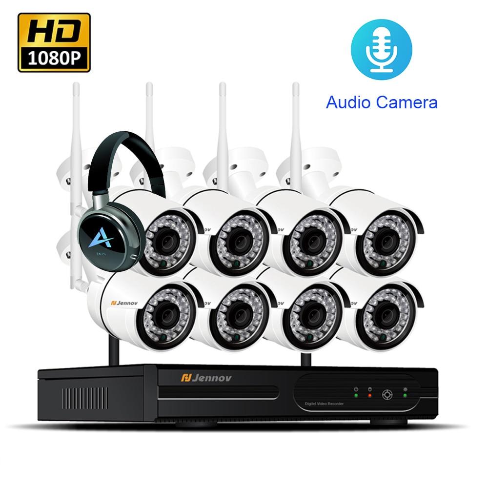 8CH 1080 p 2MP IP Della Macchina Fotografica di Registrazione Audio Senza Fili del Sistema di Sicurezza CCTV Casa NVR wifi Video Surveillance Kit Kit Set wi-fi ha condotto la Luce Cam