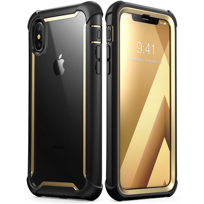 For iphone X Xs Case 5.8 inch Original i Blason Ares Series Full Body Rugged Clear Bumper Case with Built in Screen ProtectorFitted Cases   -