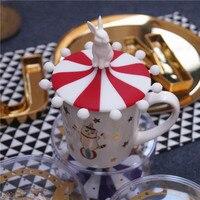 Lovely Cartoon Cat 150ml Coffee Mug Set Breakfast Mug Ceramic Mug W/ Cat Claw Shape Tray and A Spoon