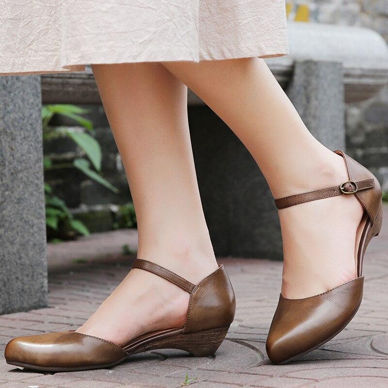 Mary G73 Sandales Grey Décontracté Bout Pointu Dames Janes Véritable 2019 Sangle Boucle 98 Chaussures Khaki Pompes black Faible D'été En Cuir Talon Femmes UwzfqCCdx
