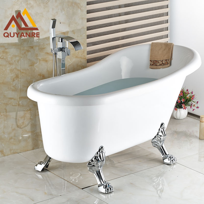 Chrome Finish Floor Standing Bath Tub Faucet Waterfall Spout Hot and Cold Bath & Shower Faucets ...
