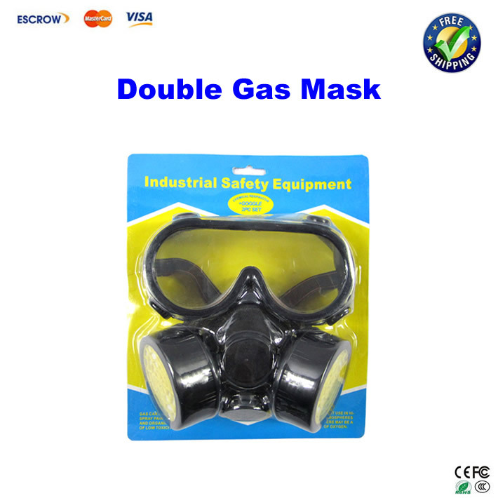 Cheap Double Gas Mask protection filter Chemical Gas Respirator Face Mask with Glasses 1pcs double gas mask chemical gas respirator face masks filter chemical gas protected face mask with goggles