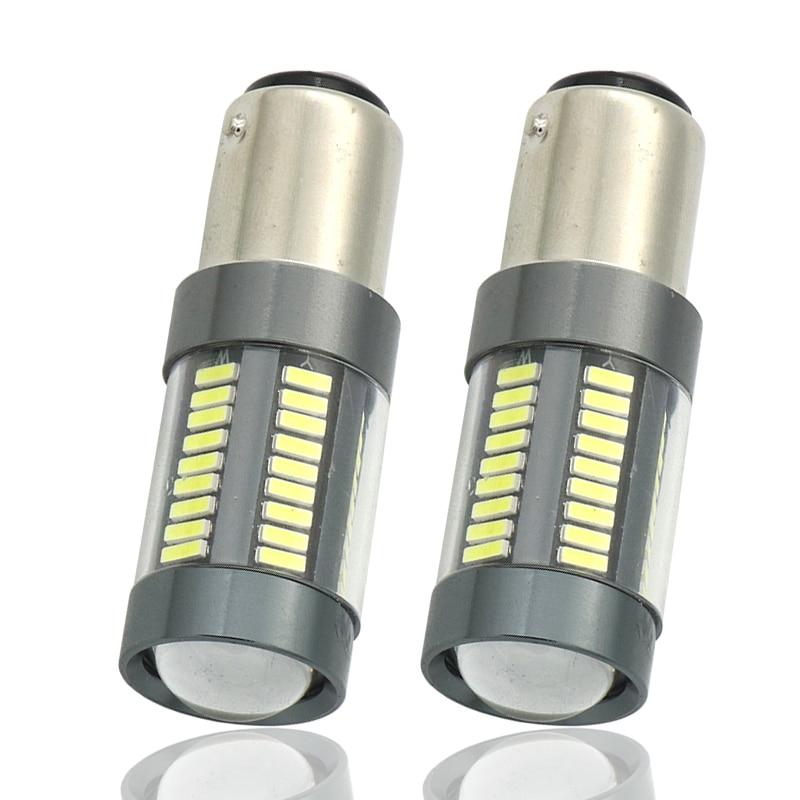 2x White Cree led Chips 1157 BAY15D Bulbs 66SMD High Power Car LED Tail Brake Stop Parking Turn Signal Light Reverse Light