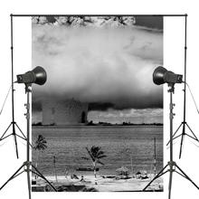 5x7ft Marvellous Big Mushroom Cloud Photography Background Black White Backdrop Photo Studio Backdrop Props Wall 5x7ft wood wall vinyl photography backdrop photo background studio props high quality new best price
