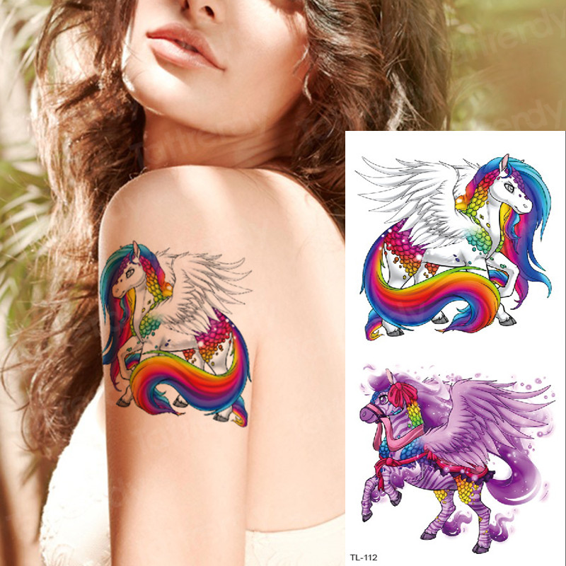 Tattoo & Body Art Unicorn Tattoo Kids Waterproof Temporary Tattoos Horse Dragonfly Fox Tattoo Watercolor Fashion Tatoo For Girls