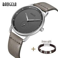 Baogela marca de luxo relógio de quartzo masculino pulseira de couro simples relógios masculinos ultra-fino moda negócio analógico relógio de moda