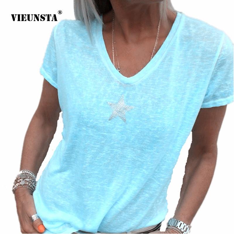 VIEUNSTA Plus Size Sexy V-neck Star Print   Blouses     Shirt   Women Short Sleeve   Blouses   Tops Casual Summer Simple Blusa plus size 5XL