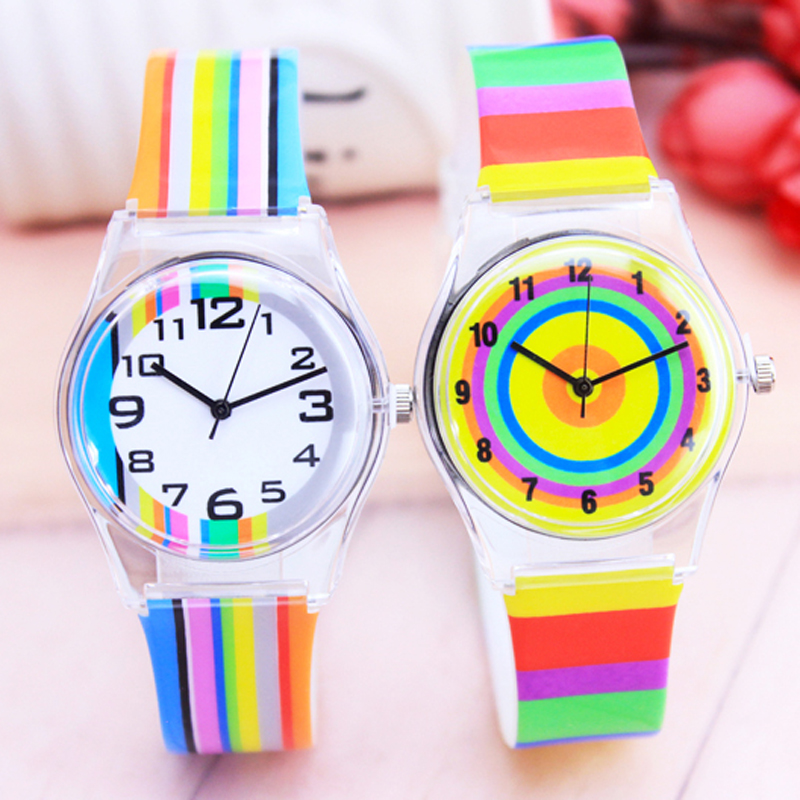 2018 new women fashion rainbow stripe quartz watches girls students colorful electronic water for Rainbow color stripe watch