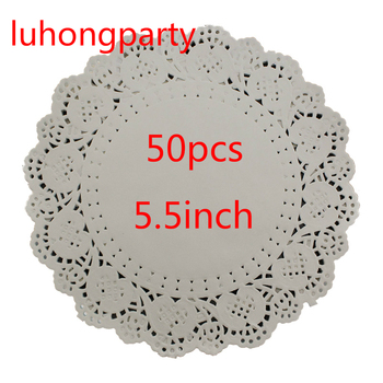 50Pcs 5.5inch Diameter 14cm White Round Lace Paper Doilies Pads Mads Placemat Craft Wedding Christmas Table Decoration image