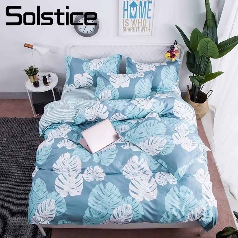 Light Blue Bedding Sets.Us 21 91 30 Off Solstice Home Textile Banana Leaf Light Blue Bed Linen Boy Kid Teen Bedding Sets 3 4pcs Girl Childs Duvet Cover Sheet Pillowcase In