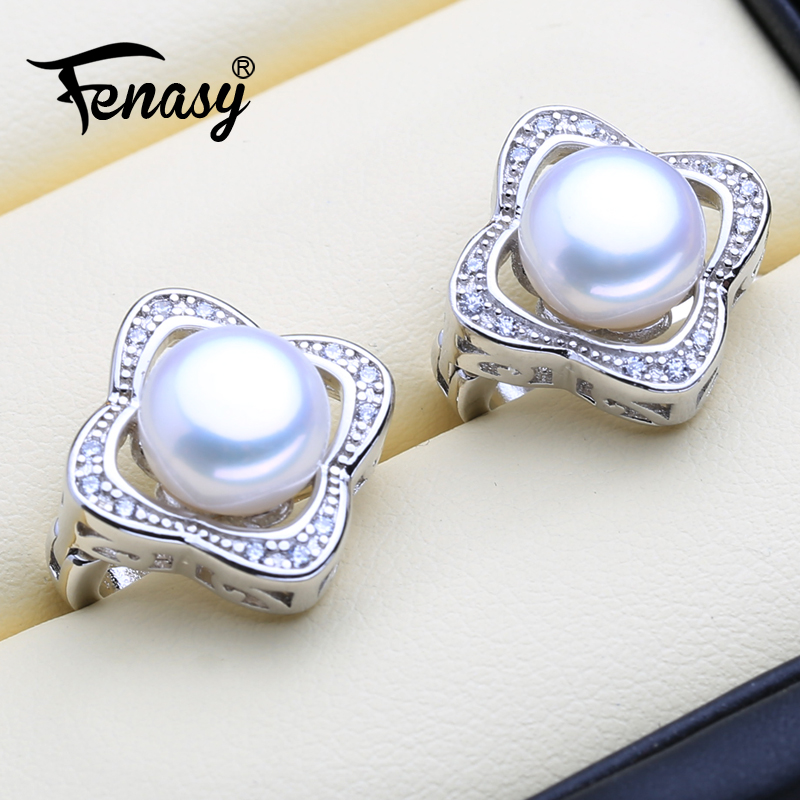 FENASY Natural Pearl Earrings For Women Big 925 Sterling Silver Clip Earrings Female Party VintageEarrings With Jewelry BoxFENASY Natural Pearl Earrings For Women Big 925 Sterling Silver Clip Earrings Female Party VintageEarrings With Jewelry Box