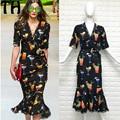 La primavera y el verano 2017 hebilla de diamantes de uñas de cuentas V cuello vidrio dress mujer elegante slim vestidos de fiesta informal de manga larga Z011