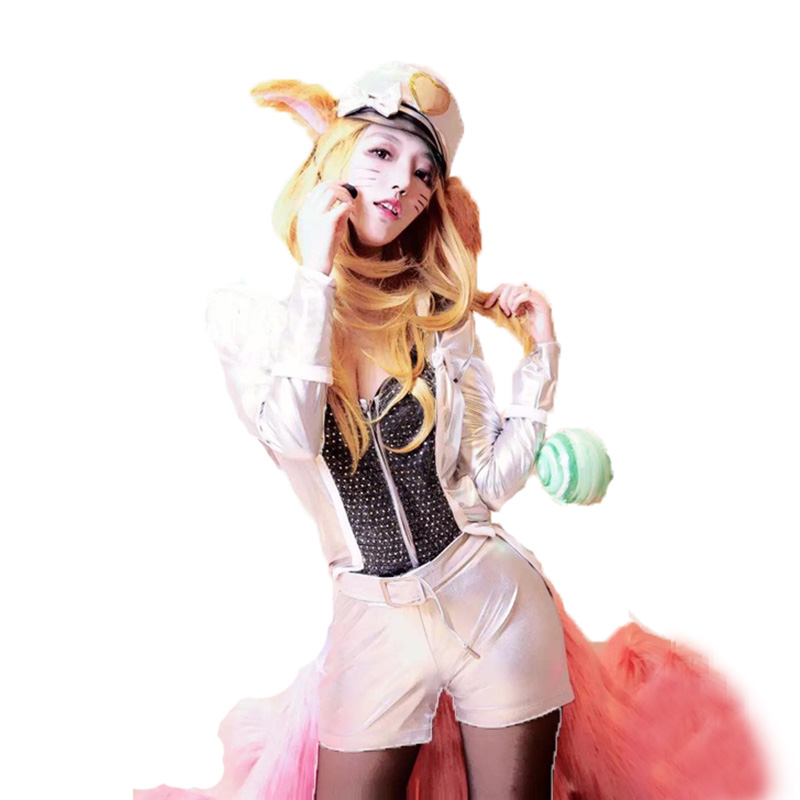 LOL Pop Star Ahri Cosplay Costume Halloween Uniform Outfit Top+Coat+Pants+Hat 3 styles can choose
