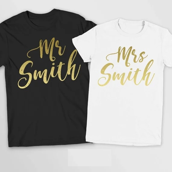 TWO T-SHIRTS S-XXL Just Married His and Hers T-Shirts Bride//Groom Wedding