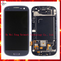 High Quality For Samsung Galaxy S3 GT-I9300 LCD Display Touch Screen With Frame, Blue white Color Free Shipping