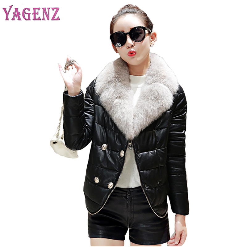 Winter Down Jacket Coat Women 2018 High Quality Thicken Warm Faux Fur Collar Cotton coat women PU Leather Jacket Plus Size S-2XL inc new beige women s size small s faux leather knit motorcycle jacket $99