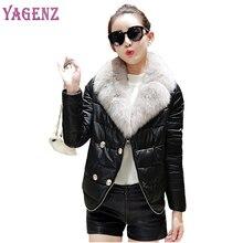 Winter Down Jacket Coat Women 2018 High Quality Thicken Warm Faux Fur Collar Cotton coat women PU Leather Jacket Plus Size S-2XL
