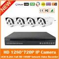 4ch Hd 1080 P H.264 Nvr 4 шт. 1mp 720 P Двойной Массив Ик света Ip65 Открытый Ip Камеры Безопасности Дома Системы Видеонаблюдения Комплекты