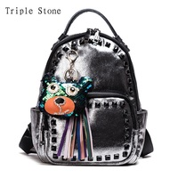 Triple Stone Sliver Glitter Backpack With Sequined Charms Rivet Tassel Leather Women Backpack Metallic Fashion School