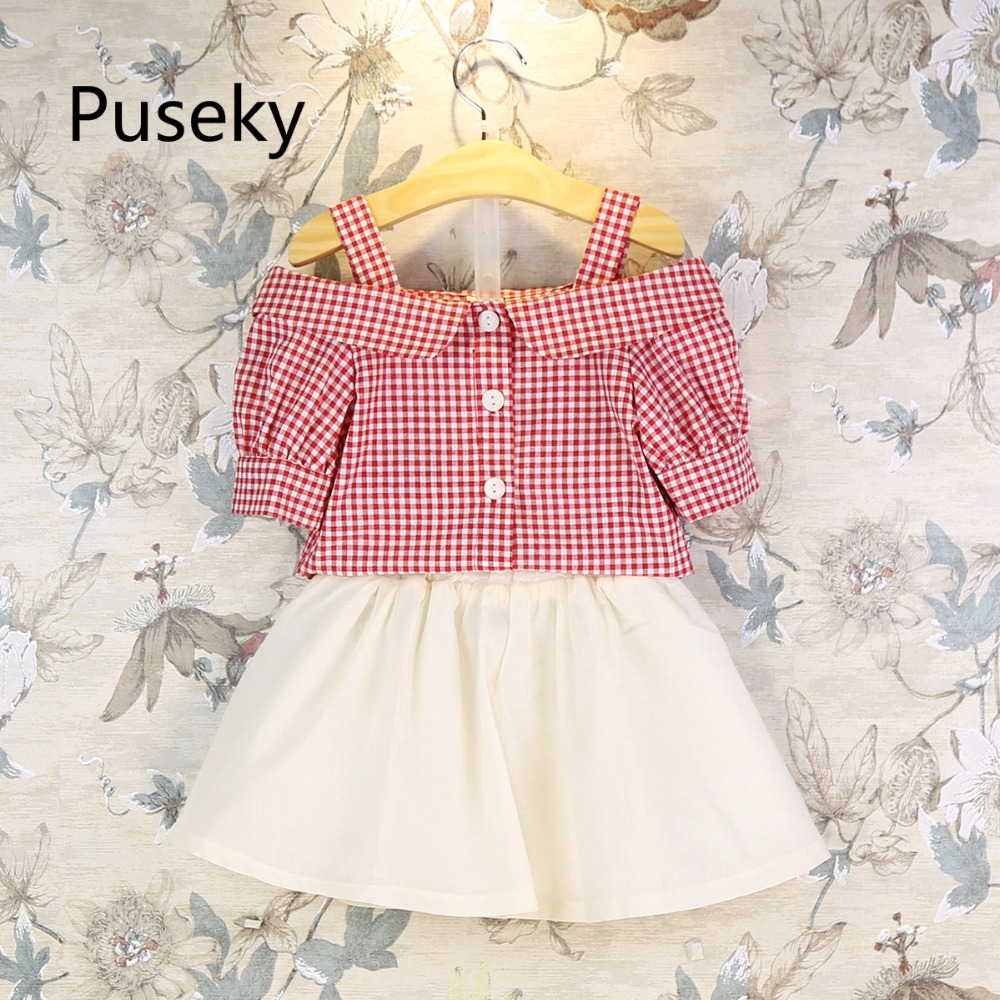 2pcs kids clothing Kids' Off Shoulder Plaid Shirt & Skirt Birthday kids clothes Party Casual Clothes minnie Outfits Set yallo kids
