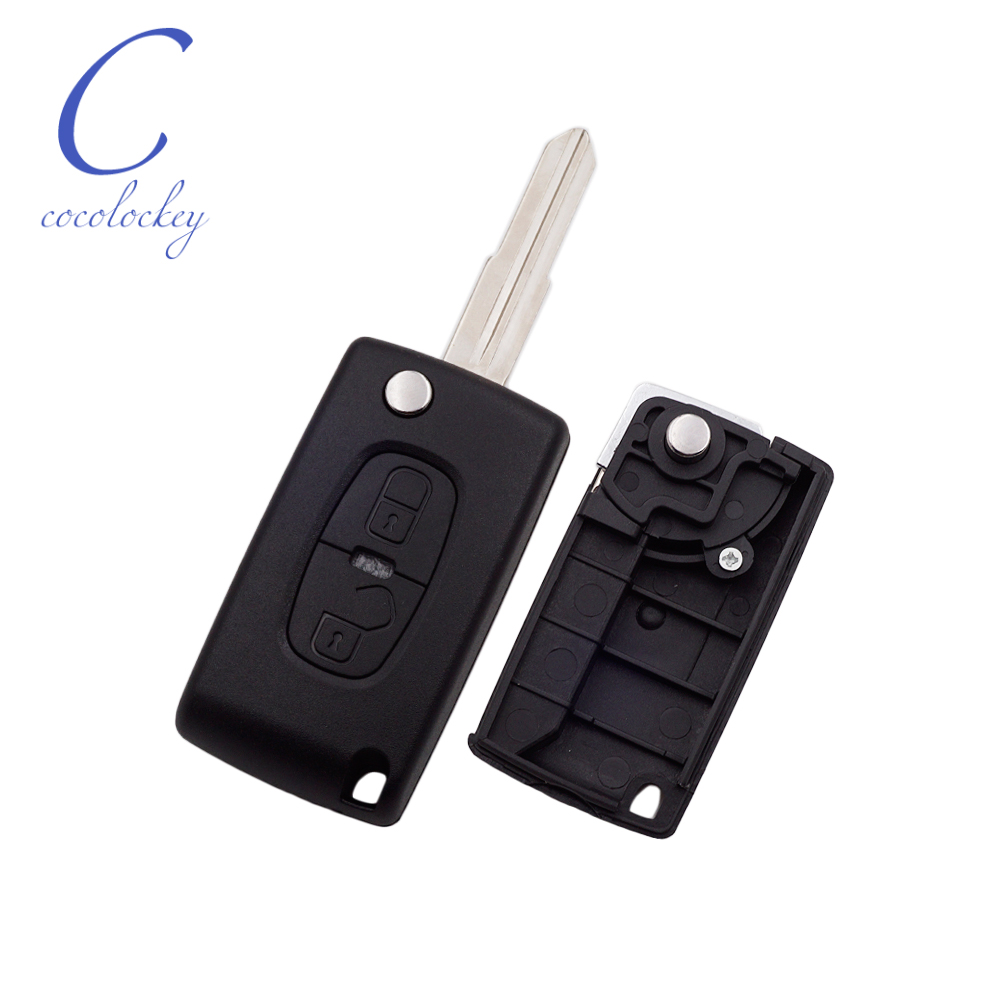Cocolockey Replacement Folding Remote Car <font><b>Key</b></font> Shell for <font><b>Peugeot</b></font> <font><b>4008</b></font> Flip <font><b>Key</b></font> 2Buttons MIT11R Uncut Blade New Car Styling image