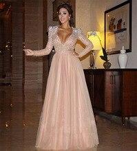 Mel Qiao Myriam Celebrity Dresses 2017 Rosa Beading Sash Cristal Manga Comprida Árabe Dubai Abiye Elegantes Vestidos de Noite(China (Mainland))
