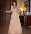 Mel Qiao Myriam Celebrity Dresses 2017 Rosa Beading Sash Cristal Manga Comprida Árabe Dubai Abiye Elegantes Vestidos de Noite