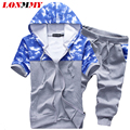 LONMMY M-3XL Hooded tracksuit set 2017 Summer Sweat suits men Hoodie sweatshirt men Slim fit suits for mens New