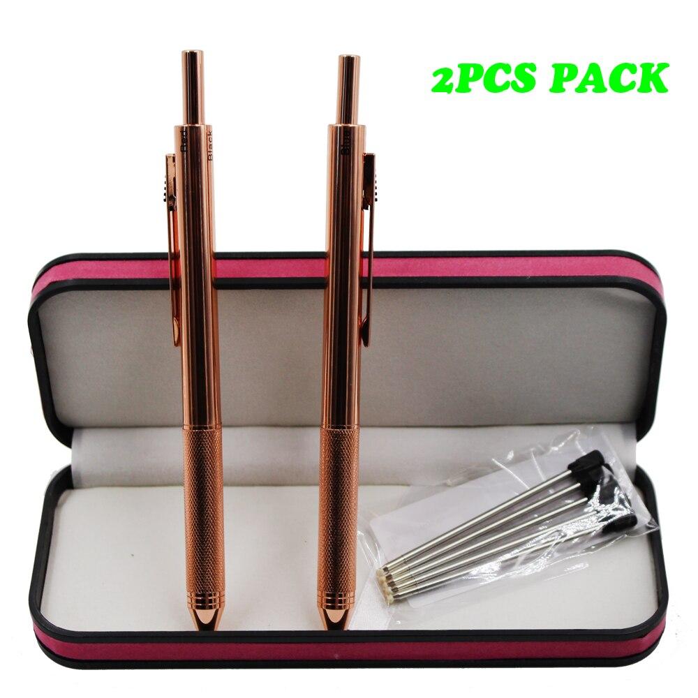 2PCS PACK 4 em 1 Multi-Função Pen 4 Cores Pen com 0.5 milímetros Lapiseira e Preto /vermelho/Azul Caneta Esferográfica em Pacote de Presente