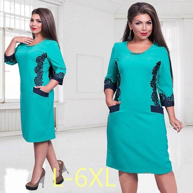 5XL 6XL Large Size 2017 Spring Autumn Dress Big Elegance Lace Dress Blue Red Straight Dresses Plus Size Women Clothing Vestidos