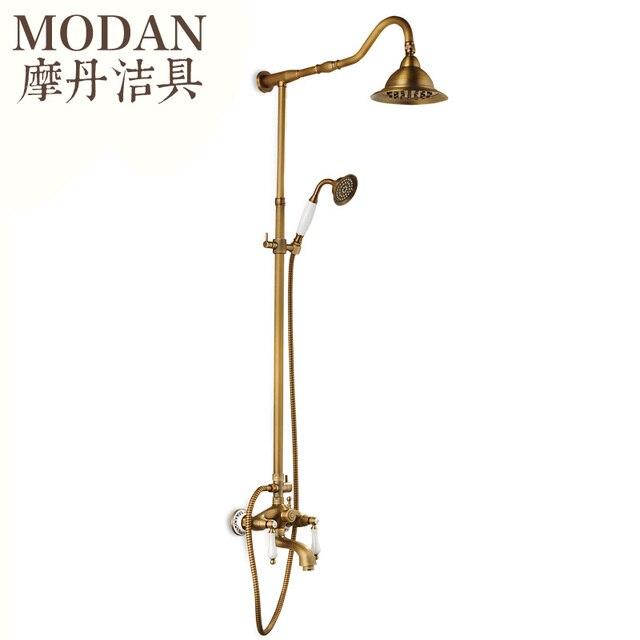 Antike Kupfer Dusche Set Europäischen Stil Bad Wasserhahn Retro