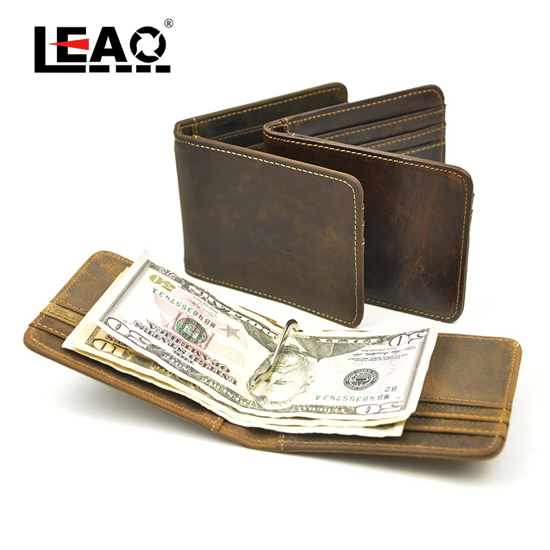 100% Genuine Crazy Horse Leather Mens Bifold Slim Leather Wallet with Money Clip 2015 Hot European and American Style wallet