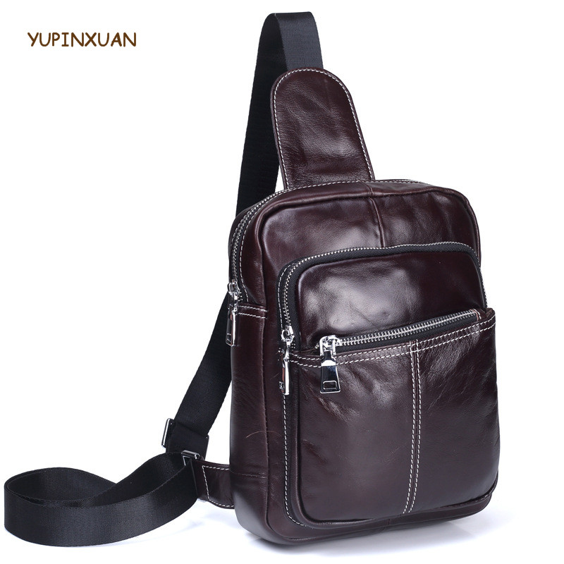 YUPINXUAN Soft Cow Leather Chest Bags for Men Genuine Leather Zippers Bag Small Cowhide Chest Packs Travel Shoulder Bag as Gift yupinxuan vintage cow leather messenger bag for men luxury crocodile grain chest bags cowhide crossbody bag chest packs russian