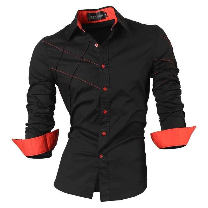 Jeansian Männer der Mode Kleid Casual Shirts Taste Unten Langarm Slim Fit Designer Tattoo Lion Z030 White2