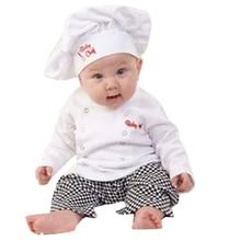 아기 소년 소녀 카니발 요리사 요리사 할로윈 코스프레 복장 아기 요리사 요리사 주방 유니폼 티셔츠 바지 모자 사진 의상