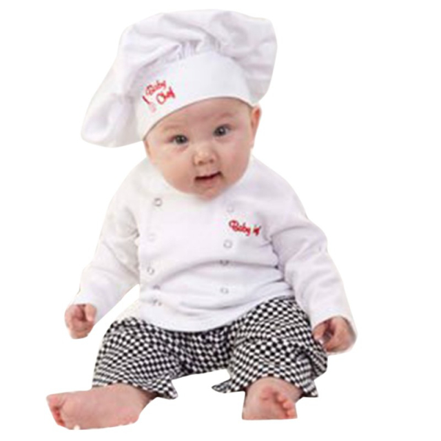 Baby Boy Girl Carnival Cook Chef Halloween Cosplay Outfits Baby Cook Chef Kitchen Uniform T shirt Pants Hat Photography Costume