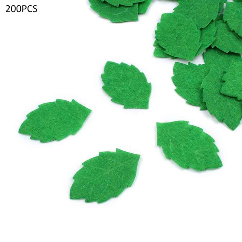 200pcs Green Leaves Leaf Card Making Decorating DIY Sewing Crafts Felt Handcraft Applique Wall Stickers 30mm