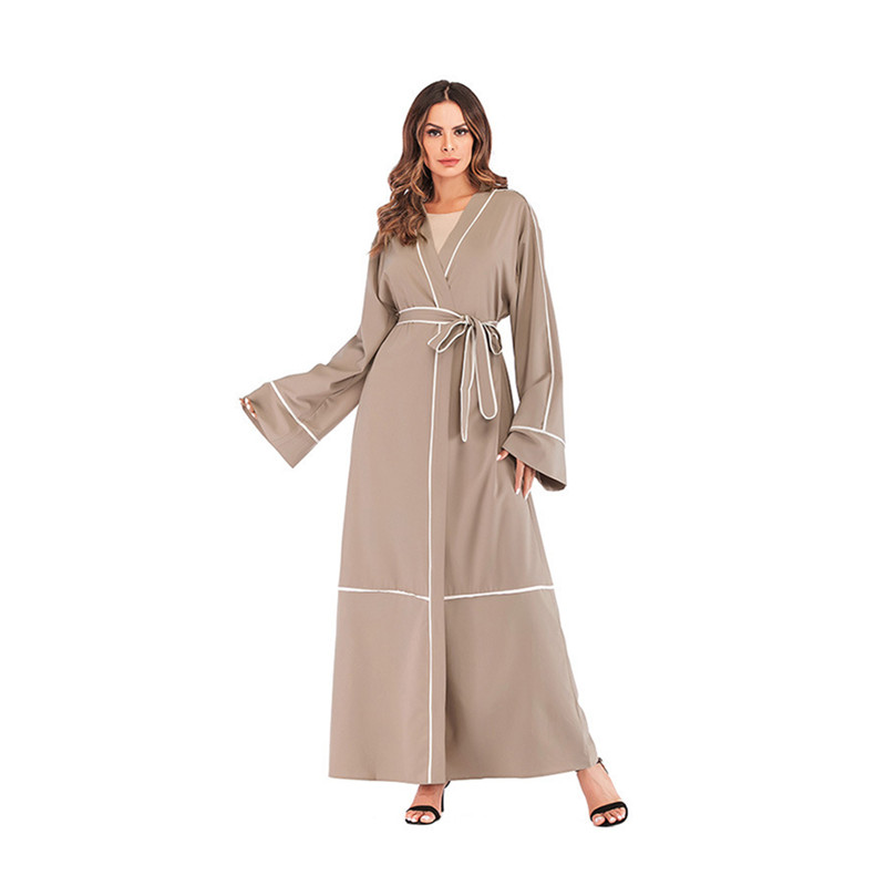 Women's Muslim Dubai Loose Caftan Stripe Line Abaya Arab Fashion Dress Arabic Turkish Kaftan Female Plus Size Clothing