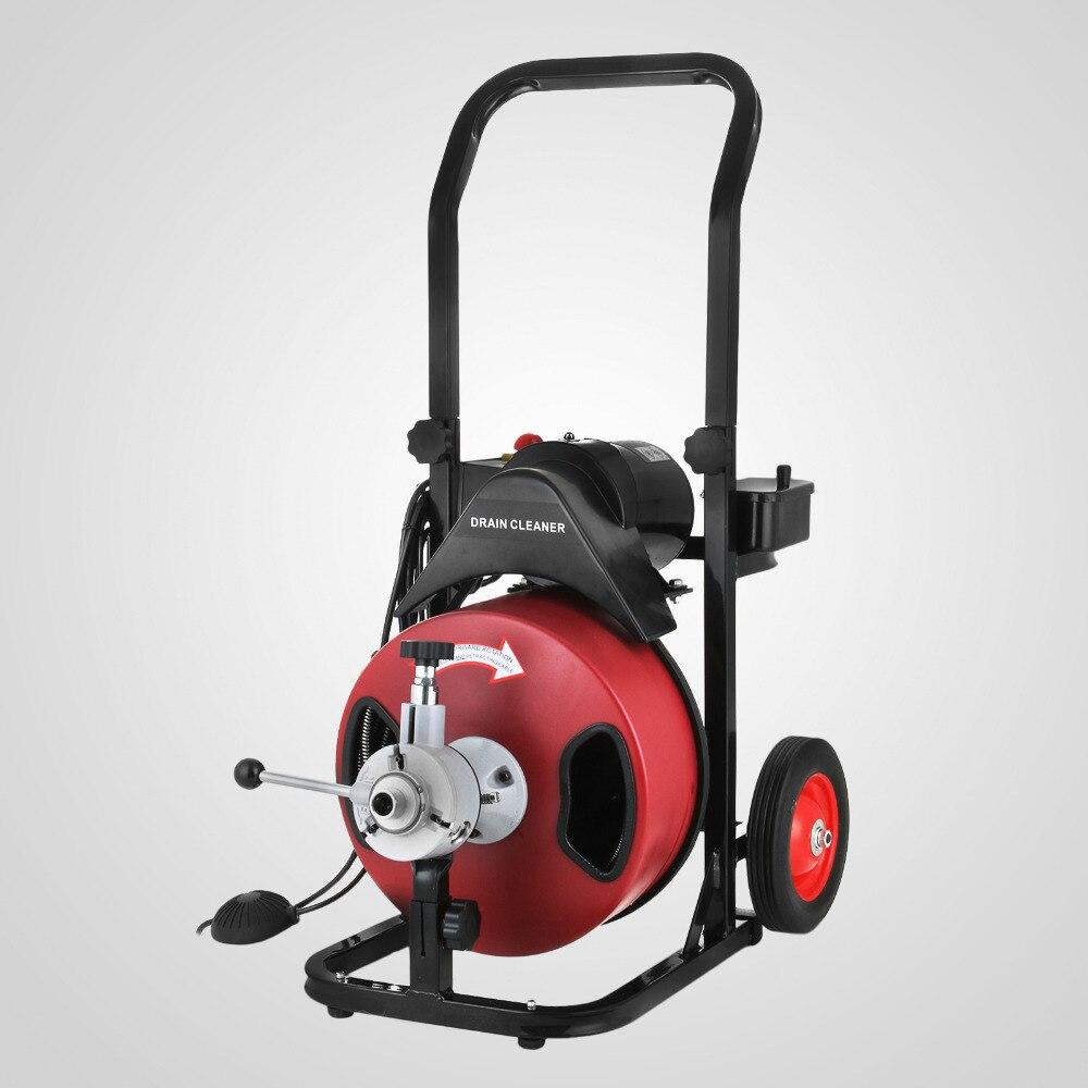 В Европе на 2 4 ''диаметр трубы Электрический дренажный шнека уборщиком машина 50FT * 1/2'' кабель W /Cutter Heavy Duty Водостоки оборудования