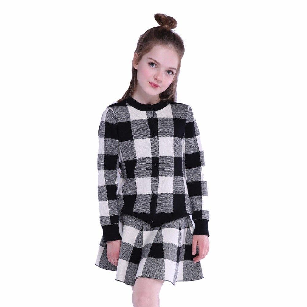 Children Clothing Sets Girls Coats Tops+Short Skirts Suits Kids Spring Long Sleeve Plaid Sets For Girls Outfits Clothes 9 11 12Y kids clothing sets for girls spring print denim tops