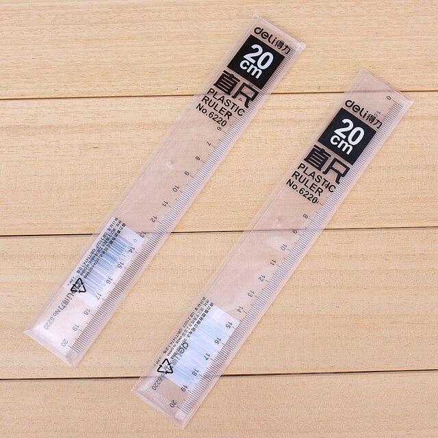 10 Pcs Promotion Plastic Straight Ruler For Kids 20cm Long School Educational Supplies Deli 6220