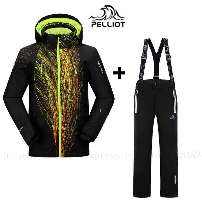 DHL FREE Pelliot High Quality Outdoor Winter   Men's Ski Suit Waterproof Skiing/Snow/Skate Sports Skiing Jacket Sets Pants